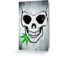 Skull with Weed -  Cool Skull with Pot Greeting Card