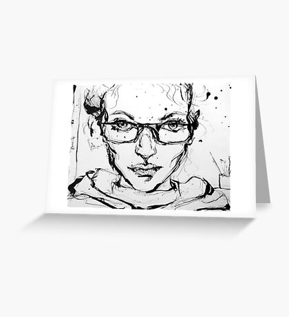 Ink Portrait Greeting Card