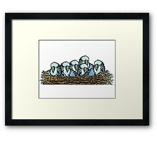 Cute Poster Style Budgies Nest Print Framed Print