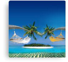 Beach hammocks  Canvas Print