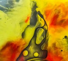 Abstraction watercolor painting - yellow river by JBJart