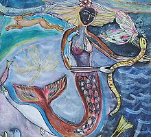 Mermaid with serpent by sue mochrie