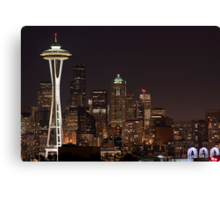 The Space Needle, Downtown Seattle at night Canvas Print