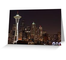 The Space Needle, Downtown Seattle at night Greeting Card