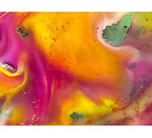watercolor abstraction painting -  pink and orange Photographic Print
