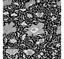 Modern abstract black and white floral pattern Photographic Print