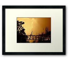 Through the Reeds  Sepia  Framed Print
