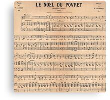 Vintage french classical music sheet paper  Canvas Print