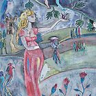 Lady with falcon by sue mochrie