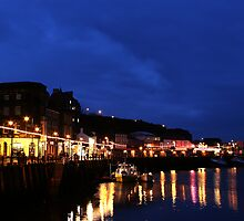 Whitby harbour at night by Keith Larby