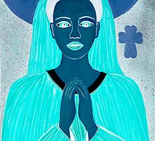 GHOSTLY BLUE PRAYING MOTHER by JaneAParis