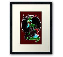 TREX STRIPPER DINOSAUR PINUP GIRL Framed Print