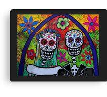 Dia De Los Muertos Skeleton Bride & Groom Canvas Print