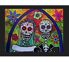 Dia De Los Muertos Skeleton Bride & Groom Photographic Print
