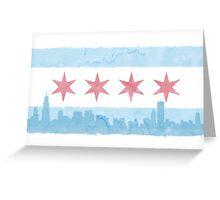Chicago Flag and Skyline - Watercolor Greeting Card