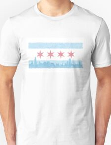 Chicago Flag and Skyline - Watercolor Unisex T-Shirt