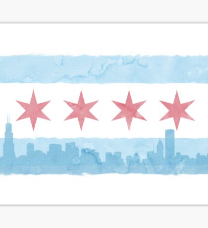 Chicago Flag and Skyline - Watercolor Sticker