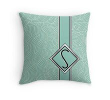 1920s Blue Deco Swing with Monogram letter S Throw Pillow
