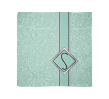 1920s Blue Deco Swing with Monogram letter S Scarf