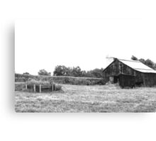 Old Barn in Black & White Canvas Print