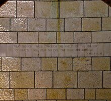 Scripture on stone wall by Jaime Pharr
