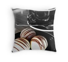 Coffee and Truffles. Black and White and Colour.  Throw Pillow