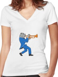 Bulldog Blowing Trumpet Side View Cartoon Women's Fitted V-Neck T-Shirt
