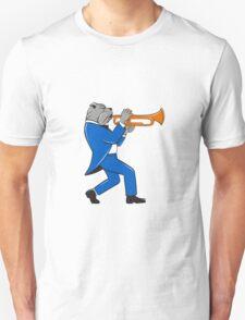 Bulldog Blowing Trumpet Side View Cartoon T-Shirt