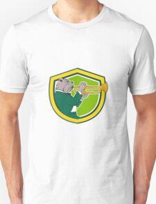 Bulldog Blowing Trumpet Side Shield Cartoon T-Shirt
