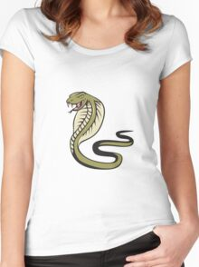 Cobra Viper Snake Attacking Cartoon Women's Fitted Scoop T-Shirt