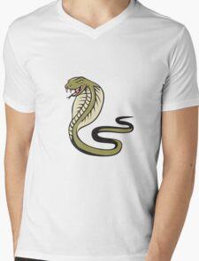 Cobra Viper Snake Attacking Cartoon Mens V-Neck T-Shirt