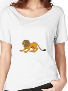 Angry Lion Crouching Side Cartoon Women's Relaxed Fit T-Shirt