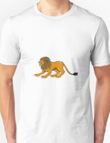 Angry Lion Crouching Side Cartoon T-Shirt
