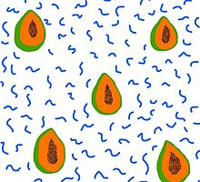 papayas, blue squiggles by Edie Johnston