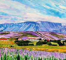 The landscape of Lupina &  the mountain Esja by Nira Dabush