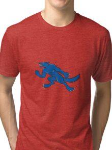 Wolf Dog Clenching Fist Cartoon Tri-blend T-Shirt