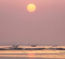 Fisherman's Sunrise in Qingdao, China by SeeOneSoul