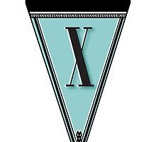 Manhattan 1920s Deco Blues Banner… Monogram letter initial X by CecelyBloom