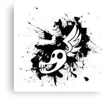 Shadowbolt skull wing splat (no text, black splats) Canvas Print