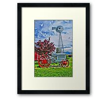 Old Red Tractor and Windmill Framed Print