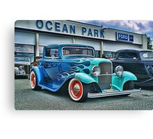 Flaming Blue Ford Canvas Print