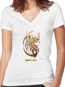 Golden Dragon tee-shirt and stickers Women's Fitted V-Neck T-Shirt