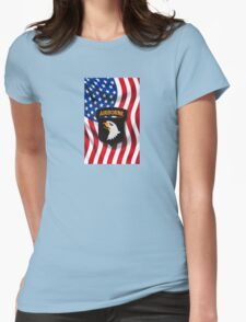 101st Airborne - American Flag Womens Fitted T-Shirt