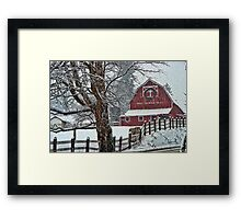 Snowing at the Red Barn Framed Print