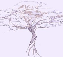 Quiet Acacia Zen Tree , Earthy African Bonsai Peace Lavendar Purple by IrenesGoodies