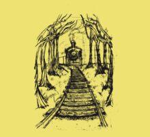 Wooden Railway , Pencil illustration railroad train tracks in woods, Black & White drawing Landscape Nature Surreal Scene Kids Tee