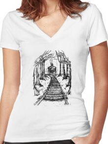 Wooden Railway , Pencil illustration railroad train tracks in woods, Black & White drawing Landscape Nature Surreal Scene Women's Fitted V-Neck T-Shirt
