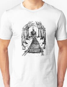 Wooden Railway , Pencil illustration railroad train tracks in woods, Black & White drawing Landscape Nature Surreal Scene Unisex T-Shirt