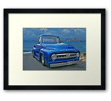 Blue Mercury Pickup on the Beaches of Mexico Framed Print