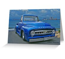 Blue Mercury Pickup on the Beaches of Mexico Greeting Card